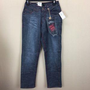 NWT PZI Jeans Royal Blue Red Stitch Jeans sz 8